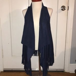 NWT Faux Suede Fringe Vest Size Small